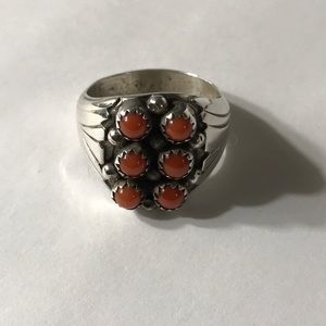 Jewelry - Unisex Sterling Native American Red Coral Ring.